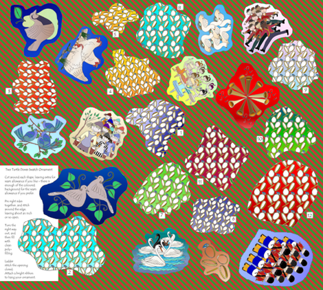 Two Turtle Doves, and the Twelve Days of Christmas fabric by wiccked on Spoonflower - custom fabric
