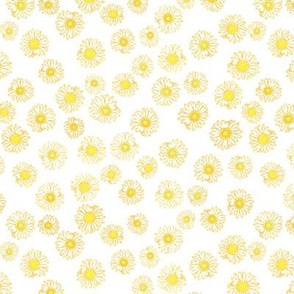 Daisies unchained -- in yellow on white