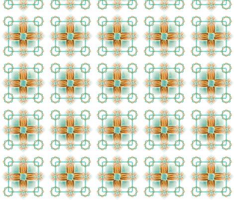Quilt Grid, Gold & Turq 20 fabric by pad_design on Spoonflower - custom fabric