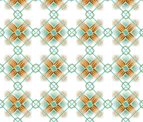 Argyle Quilt, Gold & Turq 21 fabric by pad_design on Spoonflower - custom fabric