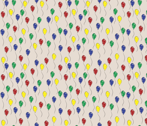 Doodle Ballons (Tan) fabric by robyriker on Spoonflower - custom fabric