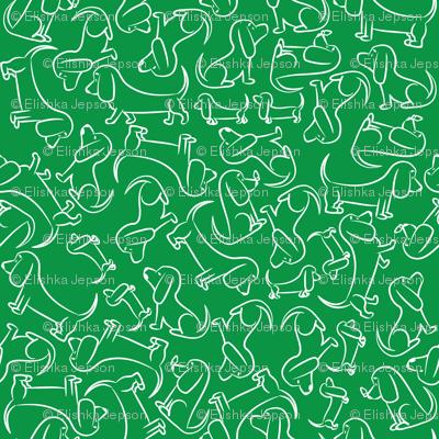 Doodle Bassets Outline (Green)