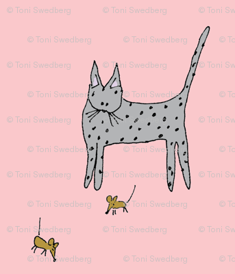 Cat and Mice - Pink Background