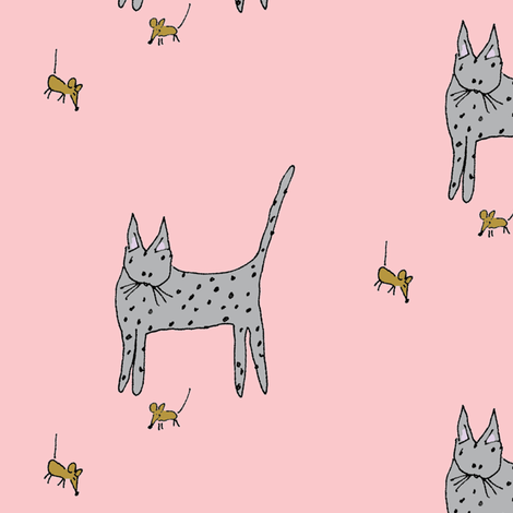 Cat and Mice - Pink Background fabric by toni_elaine on Spoonflower - custom fabric