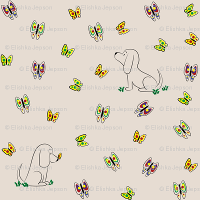 Doodle Bassets and Butterflies (Tan)