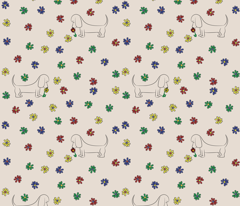Doodle Bassets and Flowers (Tan) fabric by robyriker on Spoonflower - custom fabric