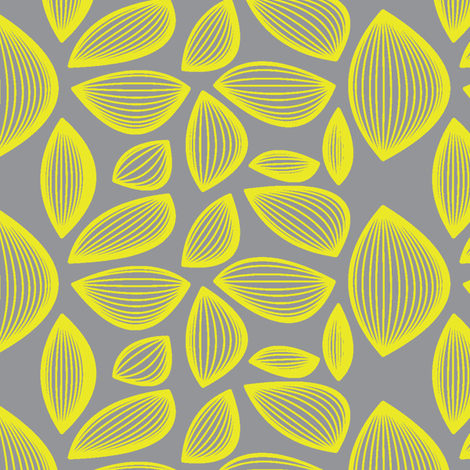 Falling Leaves in Grey and Yellow fabric by bluenini on Spoonflower - custom fabric