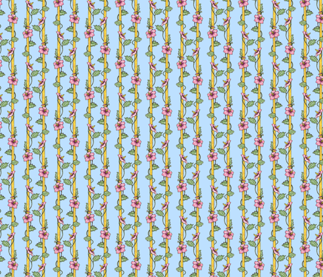 Hibiscus Stripes - Blue fabric by siya on Spoonflower - custom fabric