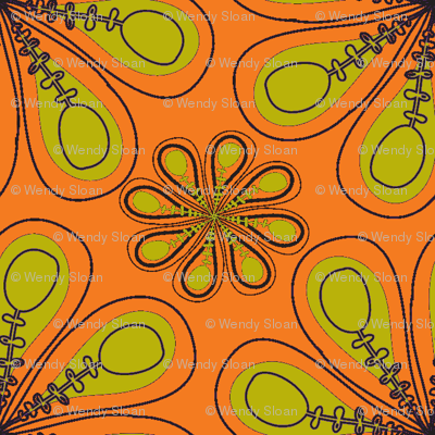 halloween_flower_print_orange green