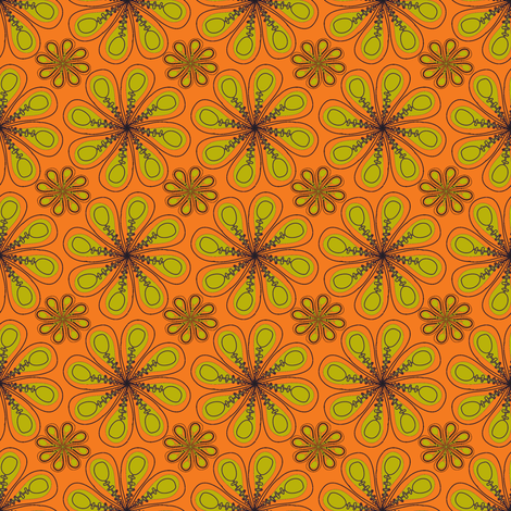 halloween_flower_print_orange green fabric by mainsail_studio on Spoonflower - custom fabric