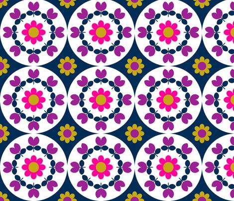 flower_plate_navy fabric by aliceapple on Spoonflower - custom fabric