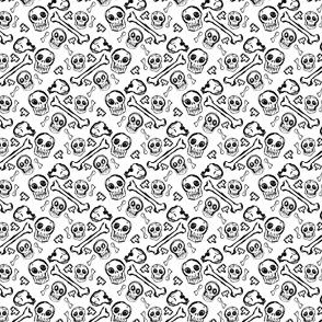 Scribble Goth - Ditzy Bones in white