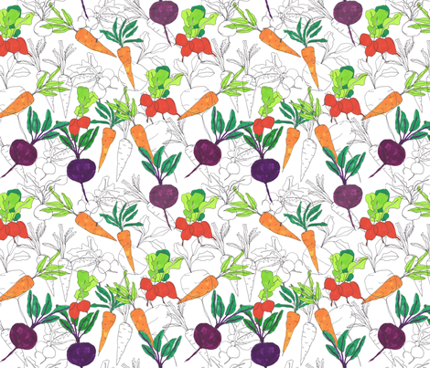 sketch vegetables! fabric by jeannemcgee on Spoonflower - custom fabric