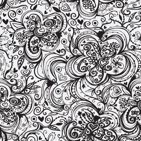 Black and White Flowers fabric by tessiegirldesigns on Spoonflower - custom fabric