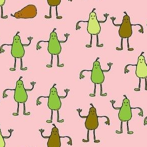 Dancing Pears Brown and Pink