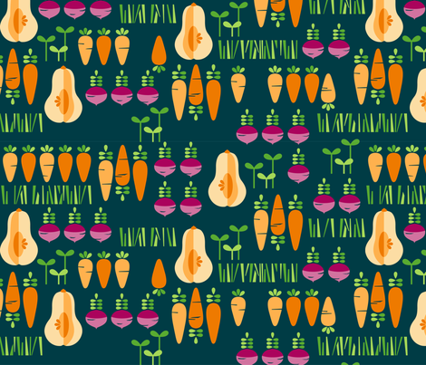 Modern Root Veggie Patch fabric by kate_legge on Spoonflower - custom fabric