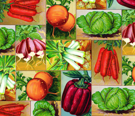 Vintage Veggies fabric by victoriagolden on Spoonflower - custom fabric