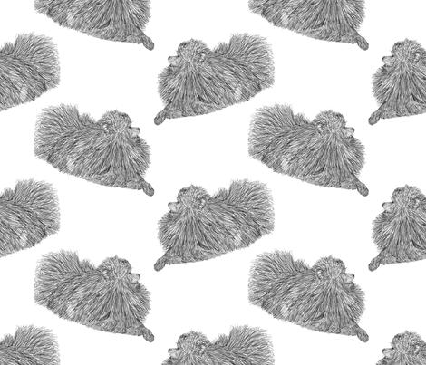 Pomeranian sketch - black/white fabric by rusticcorgi on Spoonflower - custom fabric