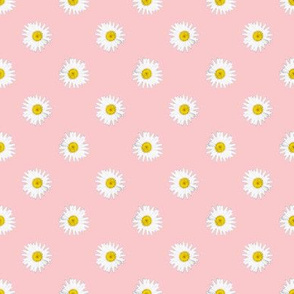 Shasta Daisy Polka Dots -- on pink