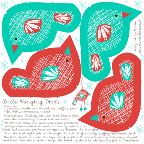 Little Hanging Birds - Cut and Sew Pattern fabric by mondaland on Spoonflower - custom fabric