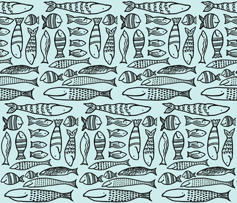 Funky Fish (aqua & black) fabric by pattyryboltdesigns on Spoonflower - custom fabric