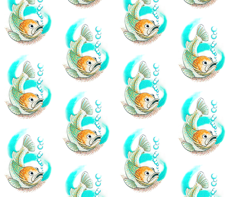 Fish with bubbles fabric by pad_design on Spoonflower - custom fabric