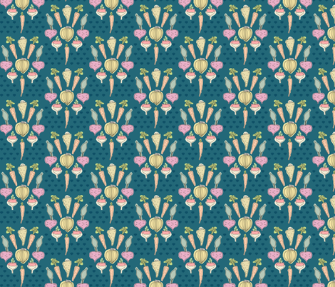 Root Veggie Damask fabric by mrshervi on Spoonflower - custom fabric