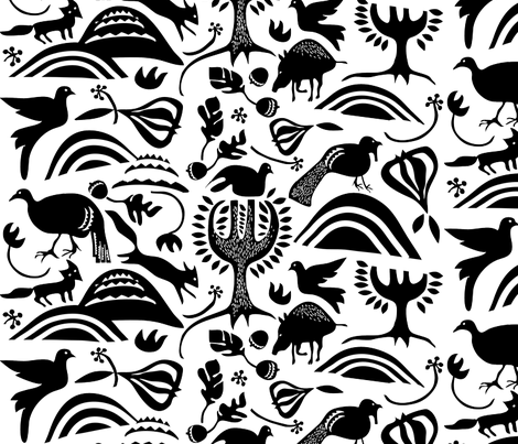 """ROOTIN in """"BLACK & WHITE"""" fabric by trcreative on Spoonflower - custom fabric"""