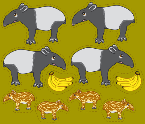 Tapir plushies fabric by mikka on Spoonflower - custom fabric