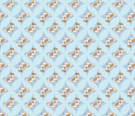 Chihuahuas trotting in blue windows fabric by rusticcorgi on Spoonflower - custom fabric