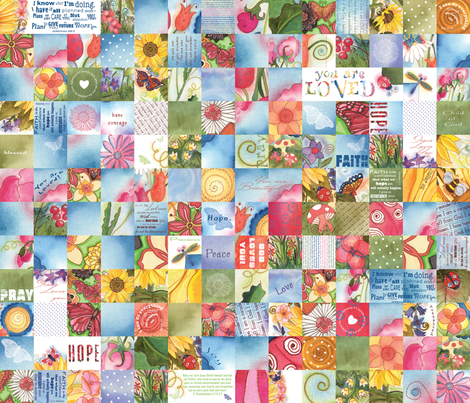 Girls' Blanket of Blessings(English) fabric by twobloom on Spoonflower - custom fabric