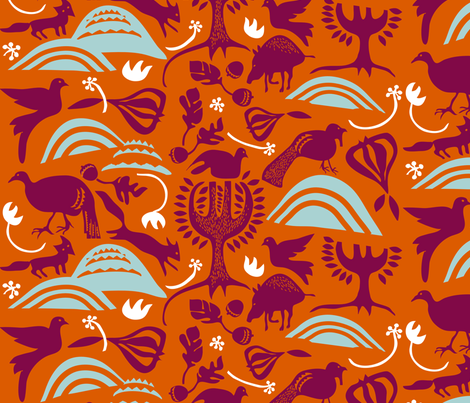 ROOTIN in TOMATO & POKEBERRY fabric by trcreative on Spoonflower - custom fabric