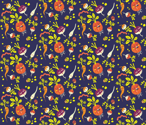 sleeping vegetables | blue fabric by irrimiri on Spoonflower - custom fabric