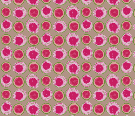 Sliced Watermelon Radishes on Linen Background fabric by owlandchickadee on Spoonflower - custom fabric