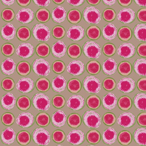Sliced Watermelon Radishes on Linen Background