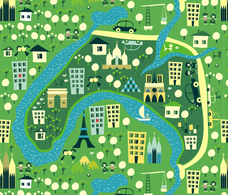 Cartoon Map Of Paris Fabric Anastasiiaku Spoonflower - Paris map fabric