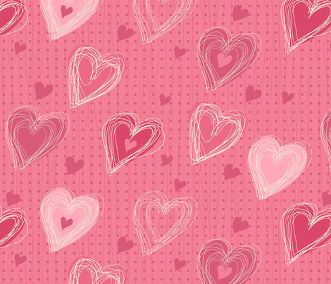 cute pink hearts fabric by anastasiia-ku on Spoonflower - custom fabric