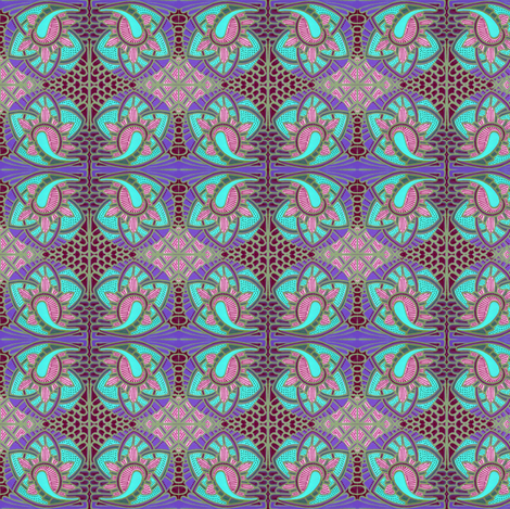 Subdued Art Nouveau Stained Glass fabric by edsel2084 on Spoonflower - custom fabric
