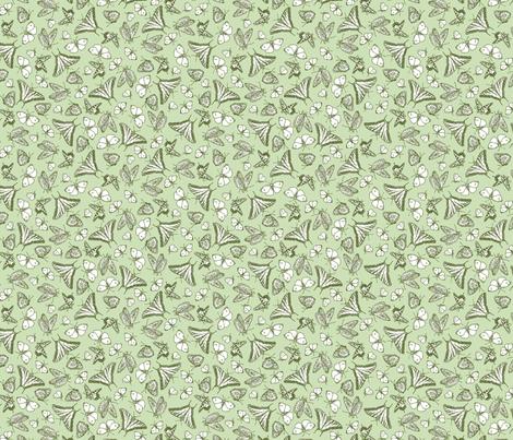 Green Butterfly Ditsy Garden Toile  ©2011 by Jane Walker fabric by artbyjanewalker on Spoonflower - custom fabric