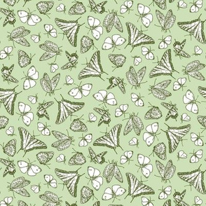 Green Butterfly Ditsy Garden Toile  ©2011 by Jane Walker