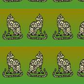 spiral cat border on green