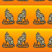 spiral cats on orange border print