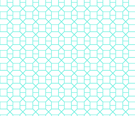 Turquoise octagon fabric by fleamarkettrixie on Spoonflower - custom fabric