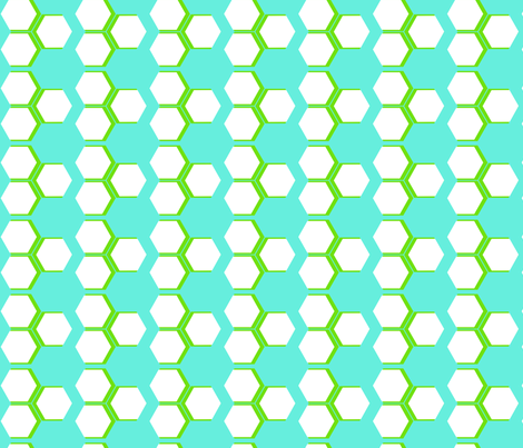 Turquoise Honeycomb fabric by fleamarkettrixie on Spoonflower - custom fabric