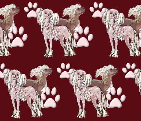 chinese crested dogs fabric fabric by dogdaze_ on Spoonflower - custom fabric