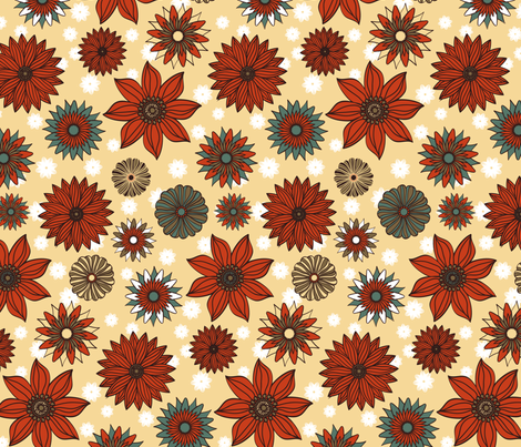 Summer Garden Dark fabric by kezia on Spoonflower - custom fabric
