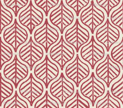 Indian Leaf / Burgundy & Natural