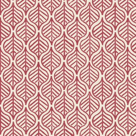 Indian Leaf / Burgundy & Natural fabric by mjdesigns on Spoonflower - custom fabric