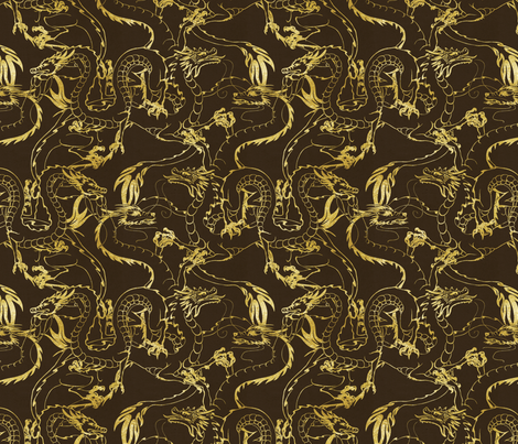 Gold Dragons fabric by hazardmuffin on Spoonflower - custom fabric