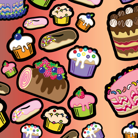 Lots o' Cakes! fabric by thickblackoutline on Spoonflower - custom fabric